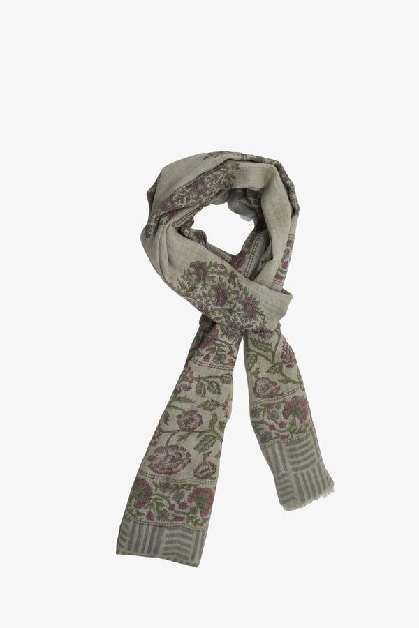 Cashmere Hand-block scarf on grey with Floral Motif
