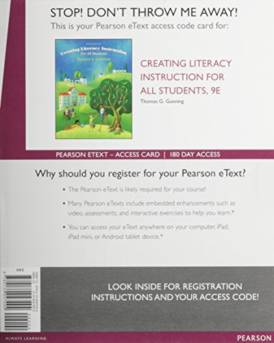 Creating Literacy Instruction For All Students, Enhanced Pearson Etext -- Access Card (9Th Edition)