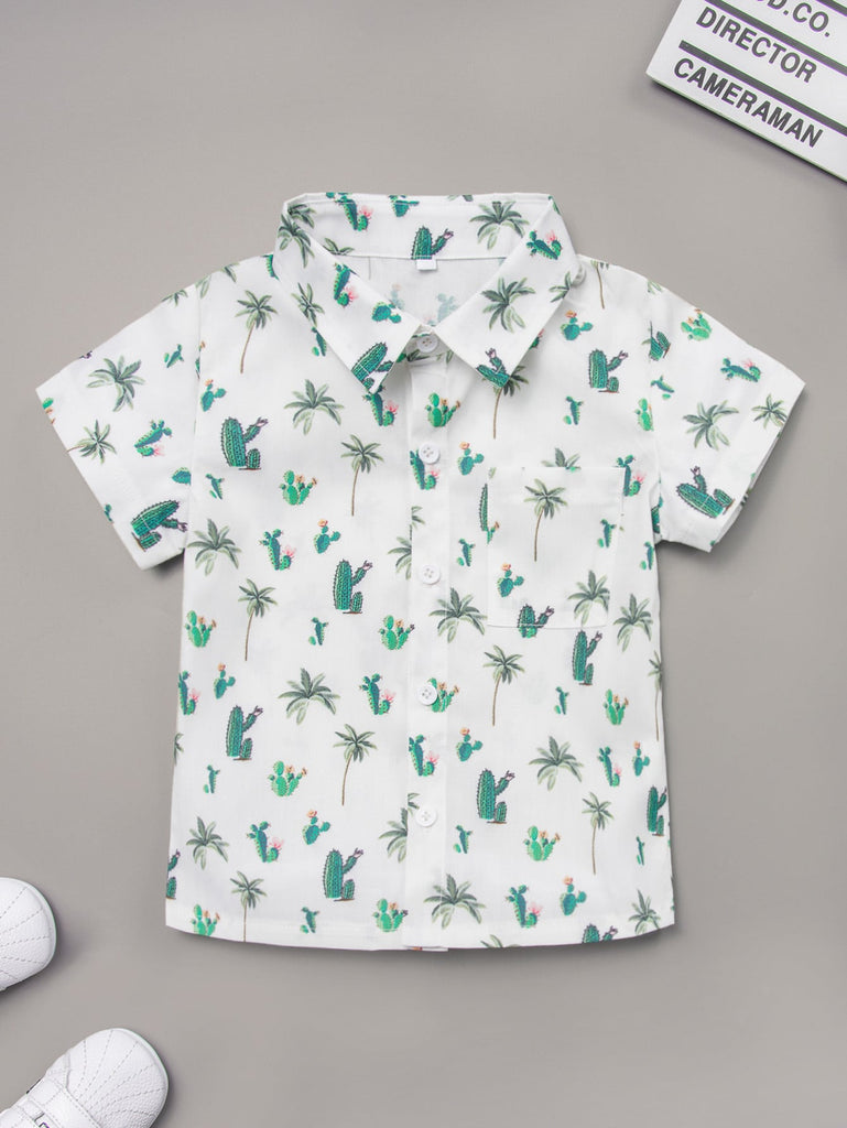 Toddler Boys Cactus Print Button Through Shirt | Free Shipping Over $50