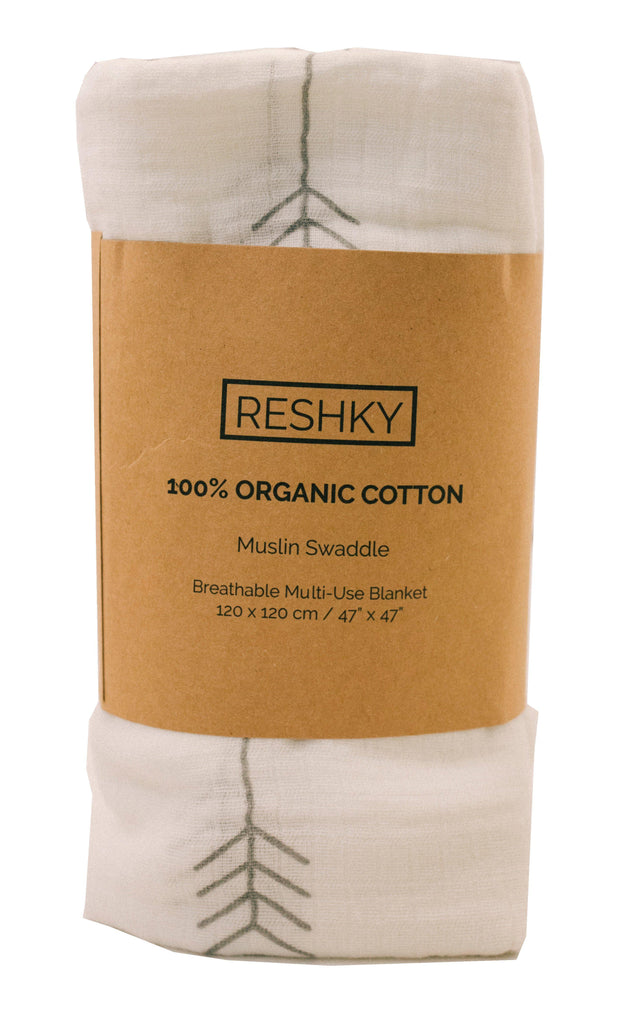 Reshky Organic Muslin Cotton Swaddle Blanket | Free Shipping Over $50