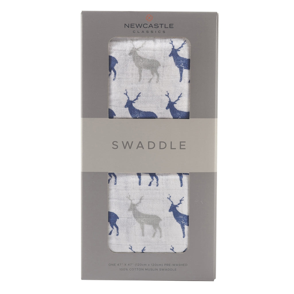 Blue Deer Swaddle Blanket | Free Shipping Over $50