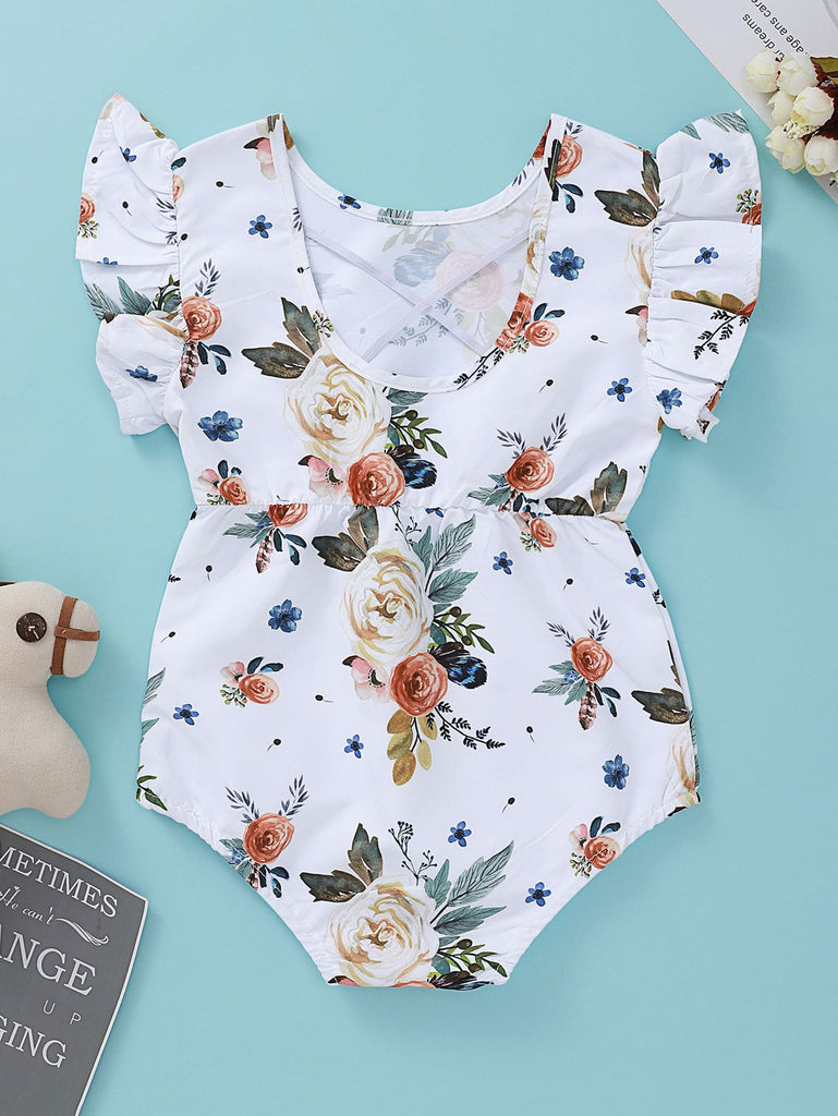 Baby Girl Floral Print Ruffle Cuff Bodysuit | Free Shipping Over $50