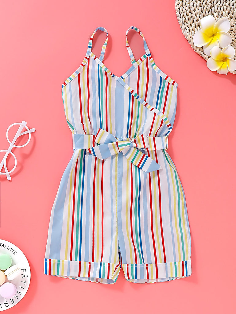 Toddler Girls Colorful Striped Belted Cami Romper | Free Shipping Over $50