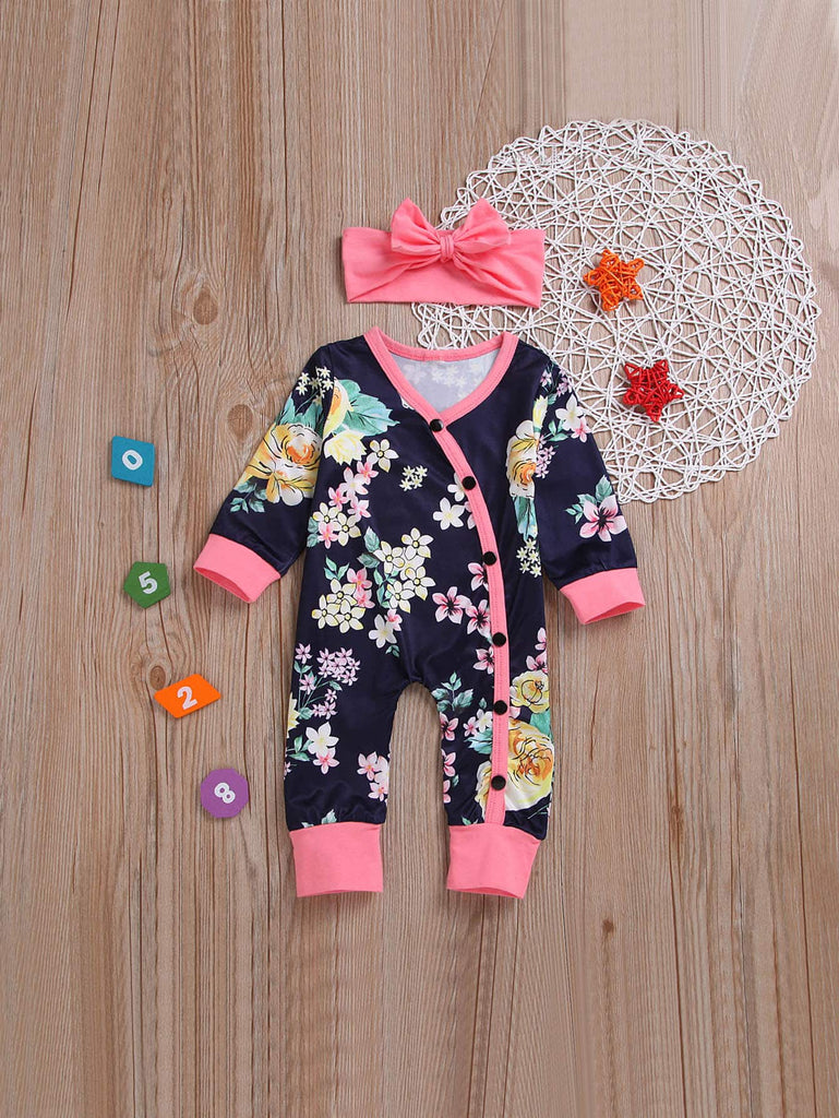 Floral Print Jumpsuit with Headband | Free Shipping Over $50