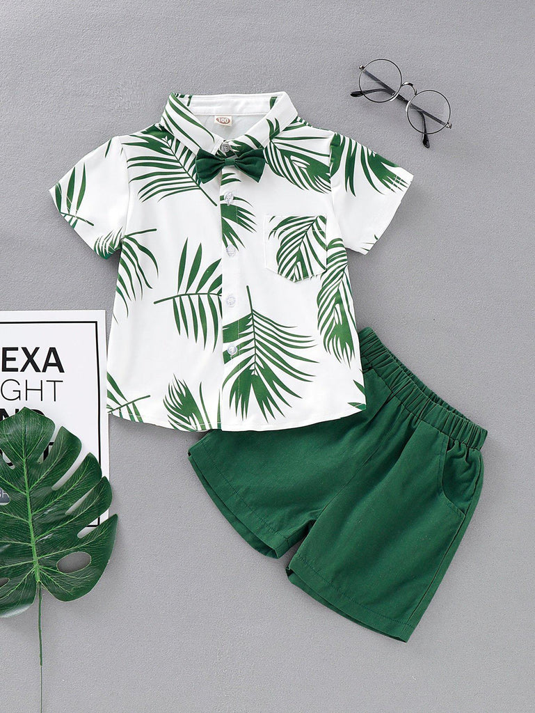 Bow Tie Leaf Print Shirt With Shorts | Free Shipping Over $50