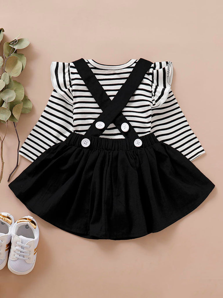 Baby Striped Ruffle Trim Romper & Pinafore Skirt Set | Free Shipping Over $50