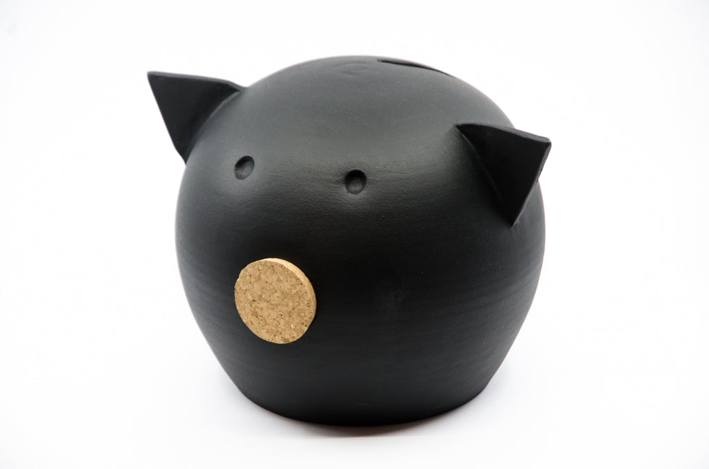 Chalk Collection Large Black Piggy Bank For Kids & Adults | Handmade Clay