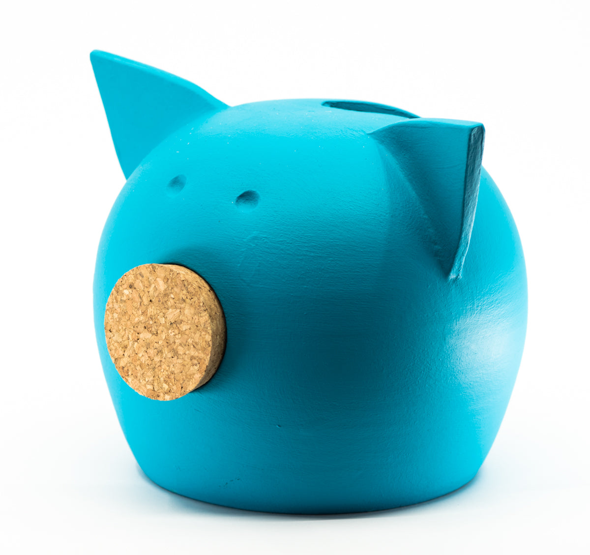 Chalk Collection Medium Blue Piggy Bank For Kids & Adults | Handmade Clay
