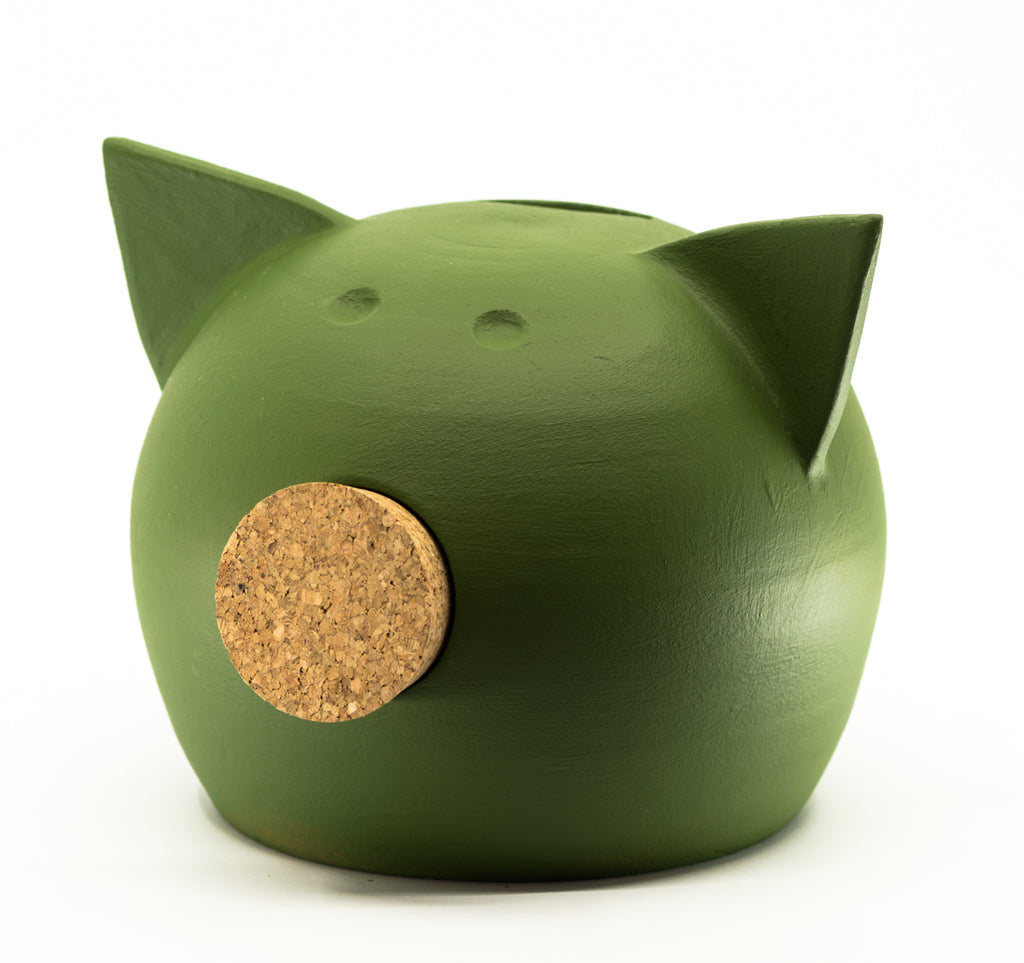 Chalk Collection Medium Green Piggy Bank For Kids & Adults | Handmade Clay