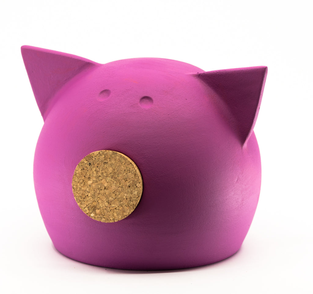 Chalk Collection Medium Magenta Piggy Bank For Kids & Adults | Handmade Clay