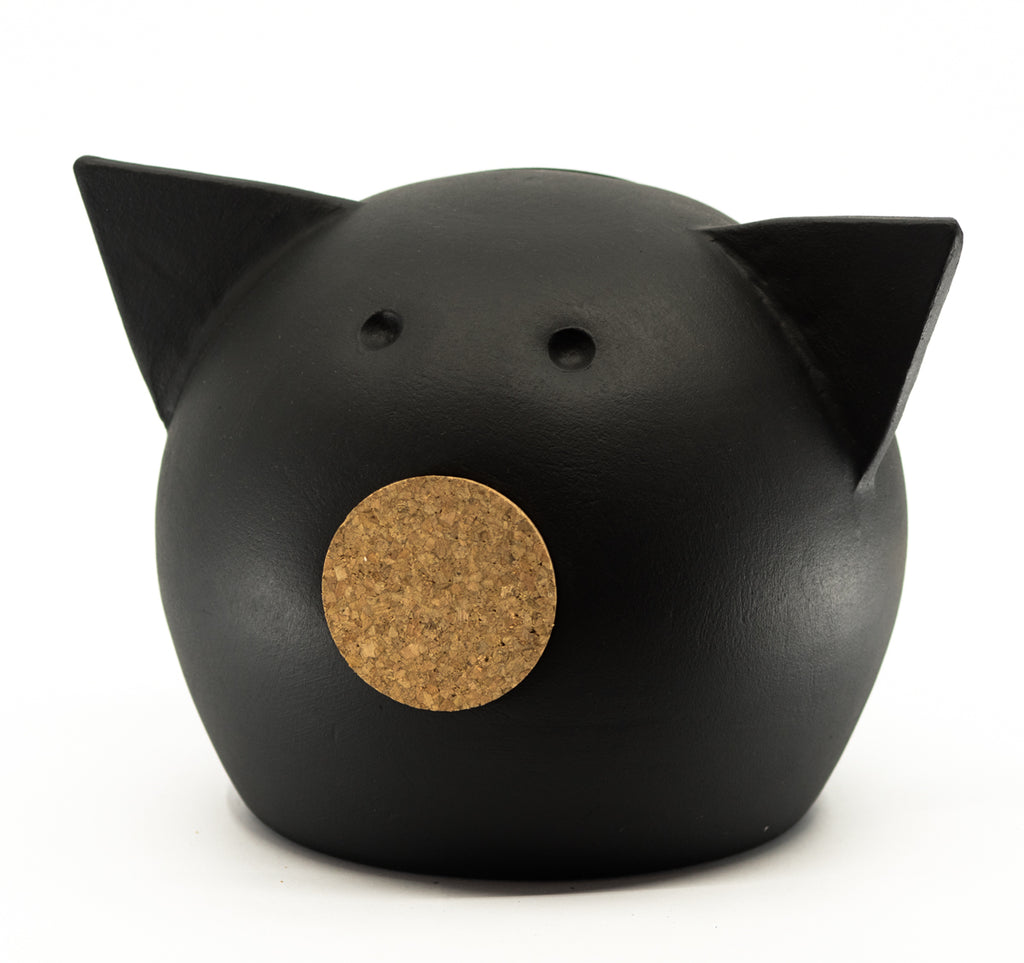 Chalk Collection Medium Black Piggy Bank For Kids & Adults | Handmade Clay