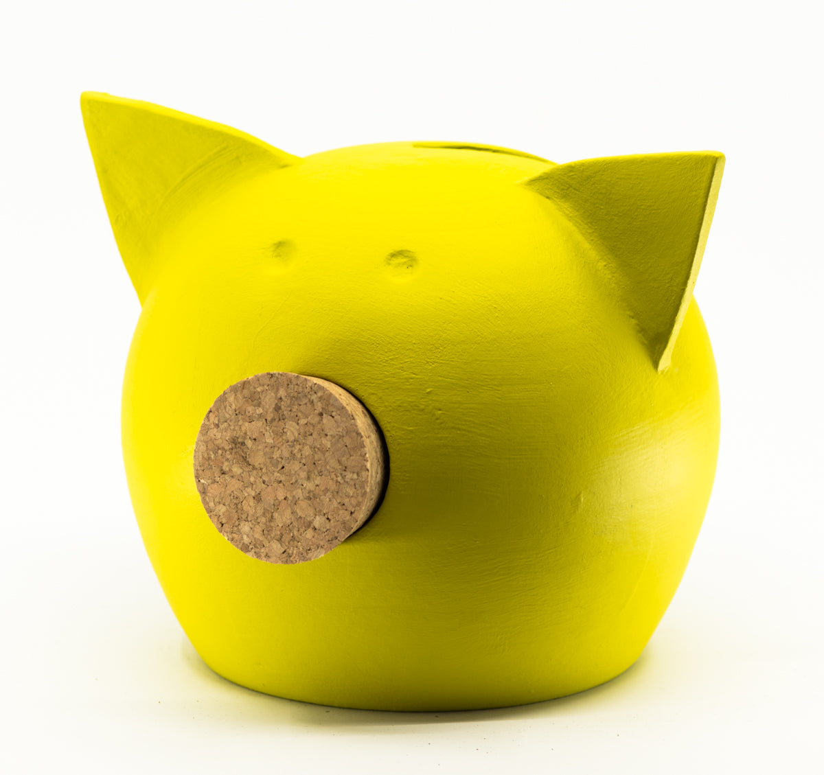 Chalk Collection Medium Yellow Piggy Bank For Kids & Adults | Handmade Clay
