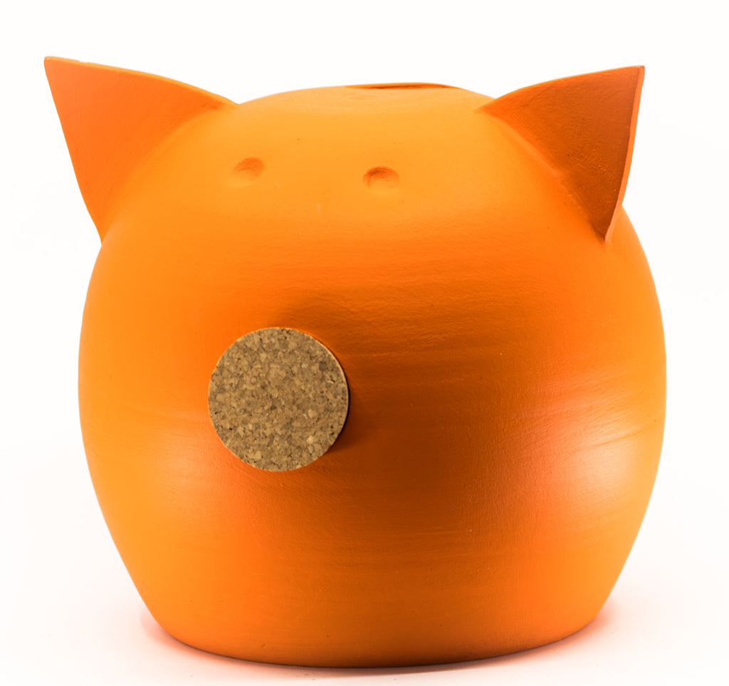 Chalk Collection Large Orange Piggy Bank For Kids & Adults | Handmade Clay