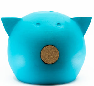 Chalk Collection Large Blue Piggy Bank For Kids & Adults | Handmade Clay