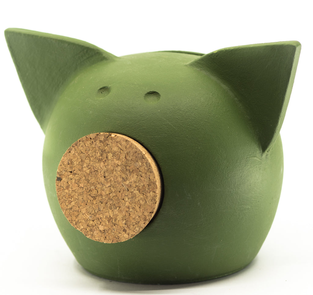 Chalk Collection Extra Small Green Piggy Bank For Kids & Adults | Handmade Clay