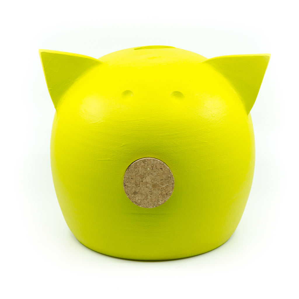 Chalk Collection Large Yellow Piggy Bank For Kids & Adults | Handmade Clay