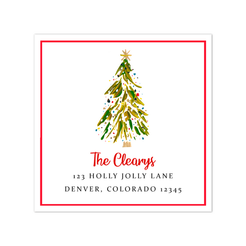 Colorful Christmas Tree Return Address Sticker