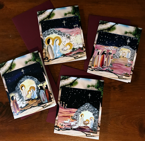 Nativity Cards with Burgundy Envelope (Pack of 8)