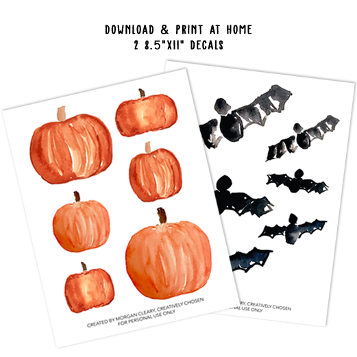 Bat & Pumpkin Decal Template