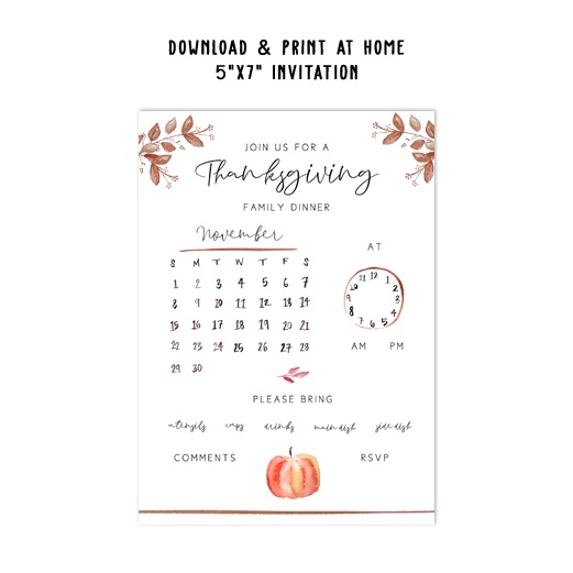 Family Thanksgiving Invitation Template
