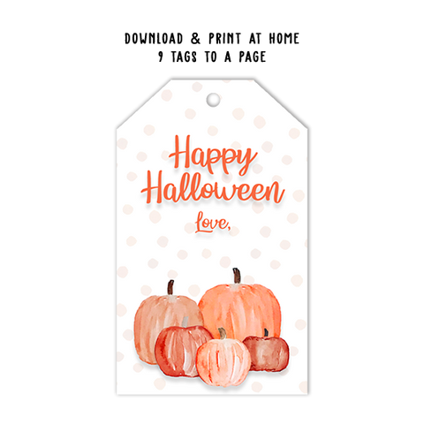 Happy Halloween Pumpkin Tag Template
