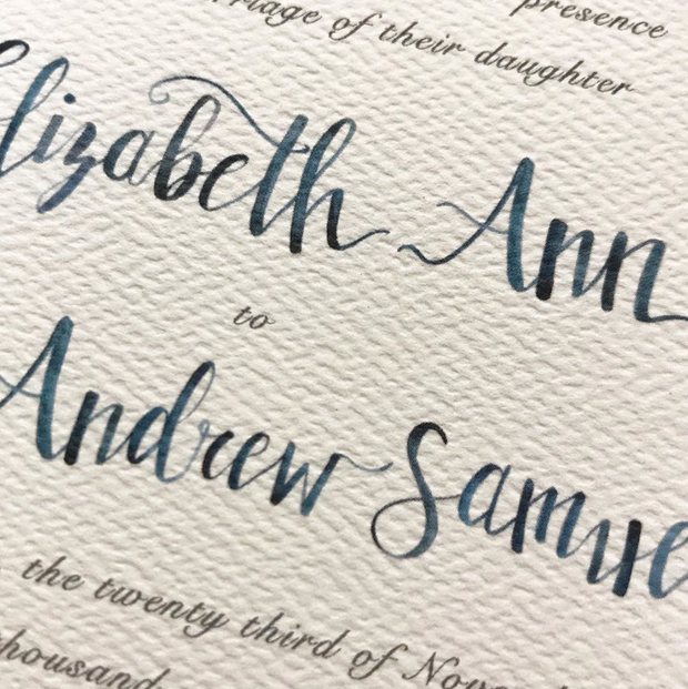 Blue Watercolor Invitation: Last Name + Envelope