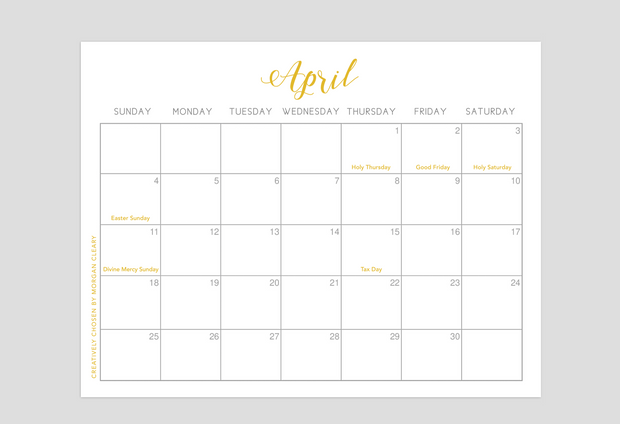 April Calendar Download