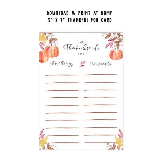 Thanksgiving I am Thankful For Card Template