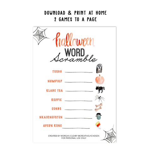 Halloween Word Scramble Template