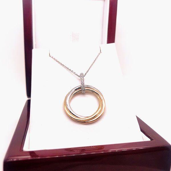 14K Tri-Color Gold Circle Pendant