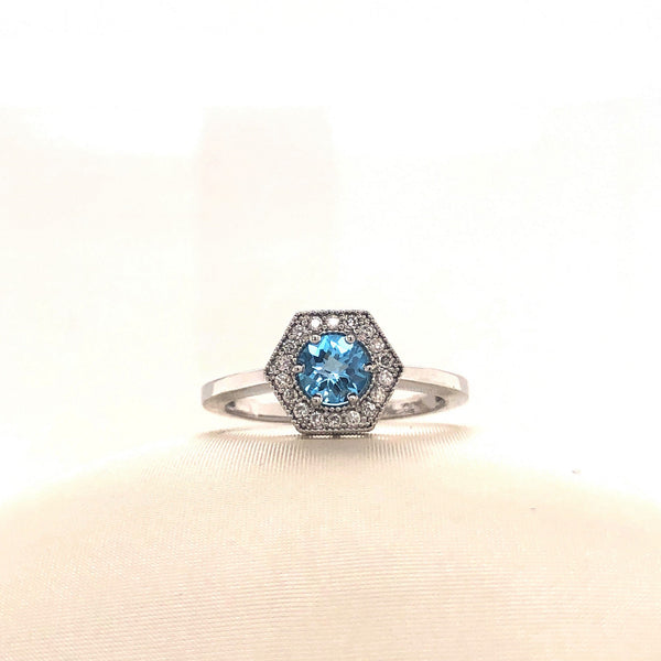 Hexagon Topaz Ring