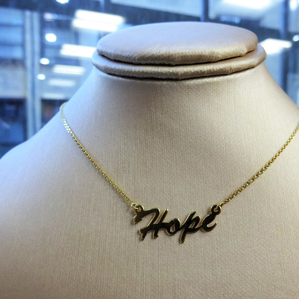 """Hope"" 14K Gold Pendant Necklace"