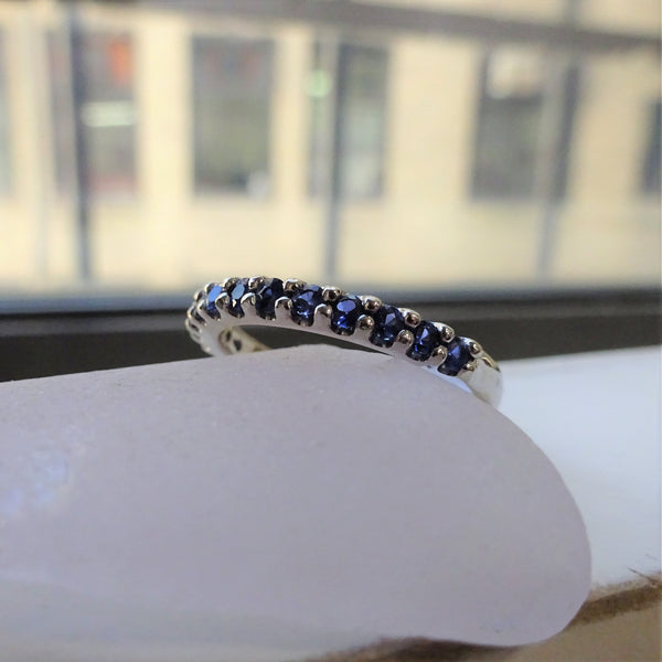 Classic Sapphire Band in White Gold