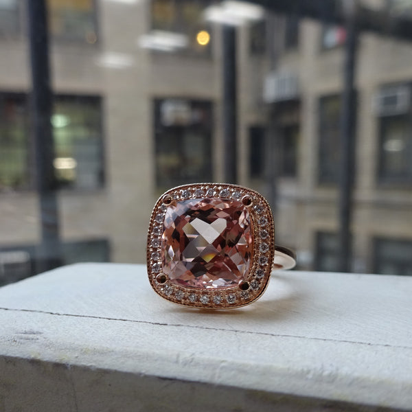 Morganite and Diamond Cushion Halo Ring