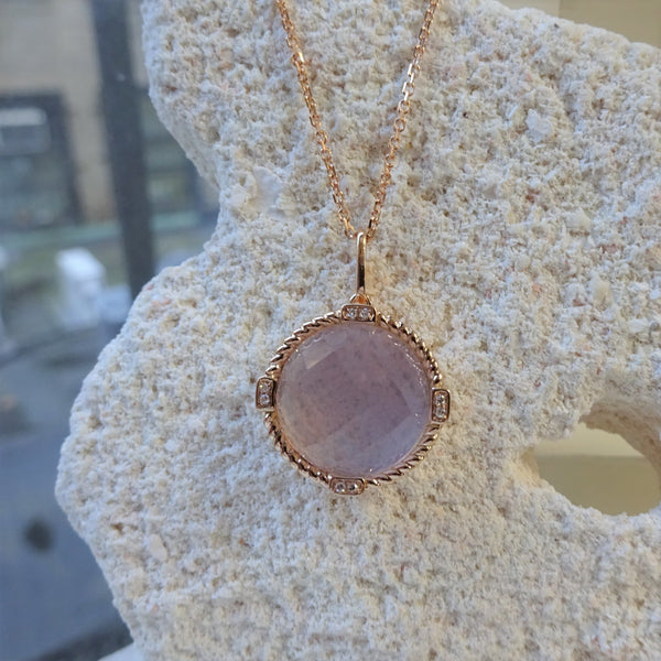 Rose Gold in Quartz Pendant