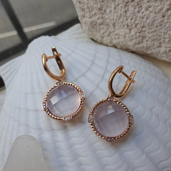 Rose Gold in Quartz Earrings