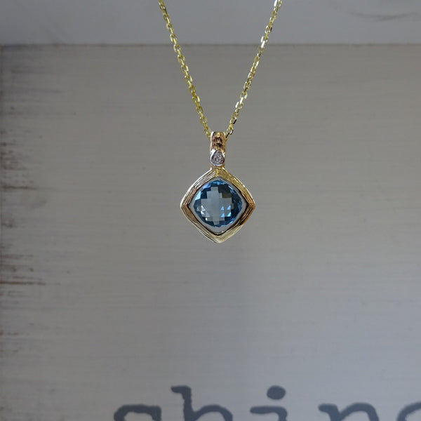 Textured Blue Topaz Pendant