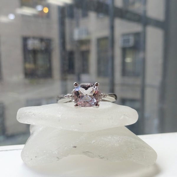 Rose Amethyst and Diamond Accent Ring
