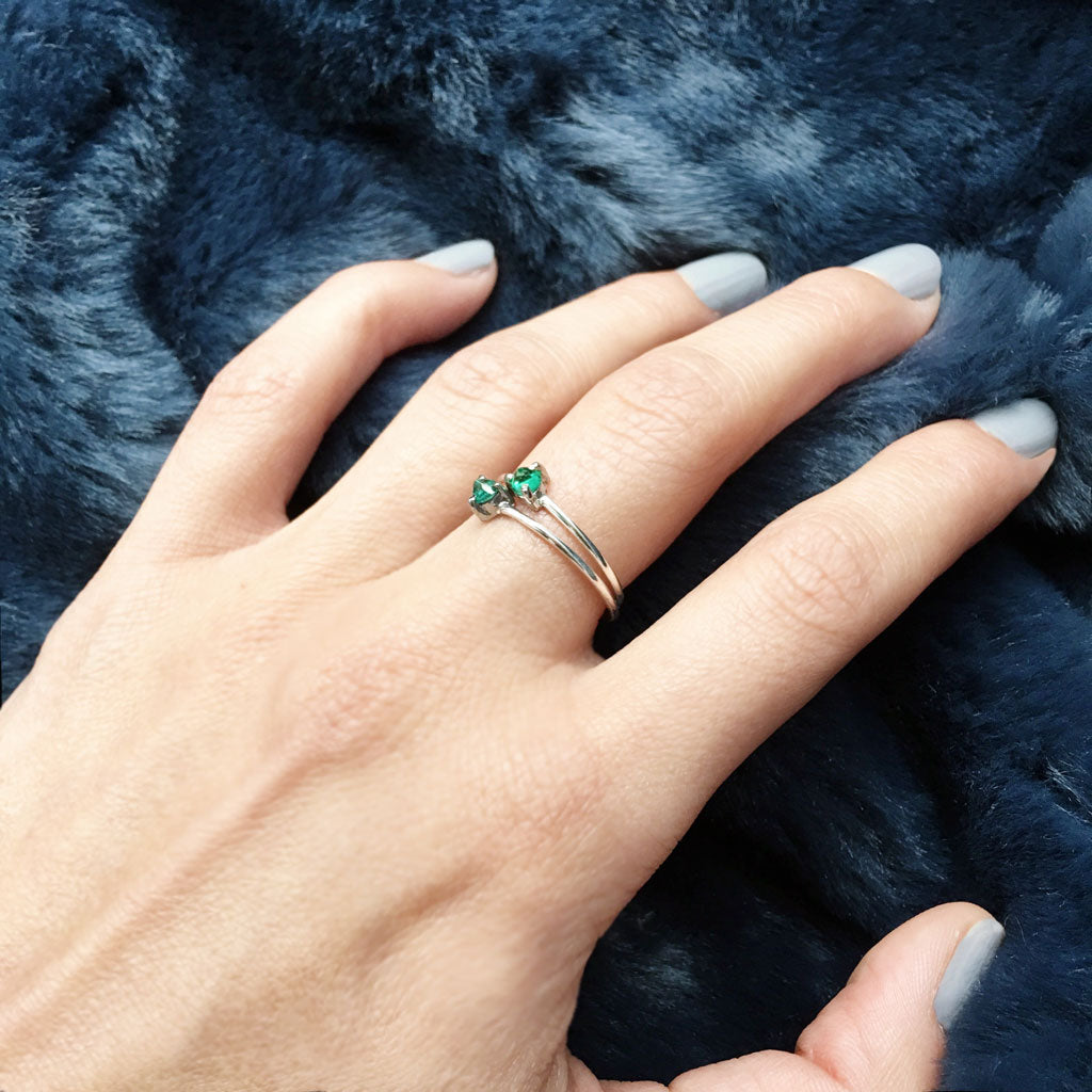 thin stackable emerald rings ana buendia