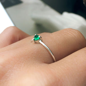 upside down emerald ring silver