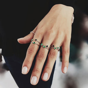 rings colombian emeralds stackable
