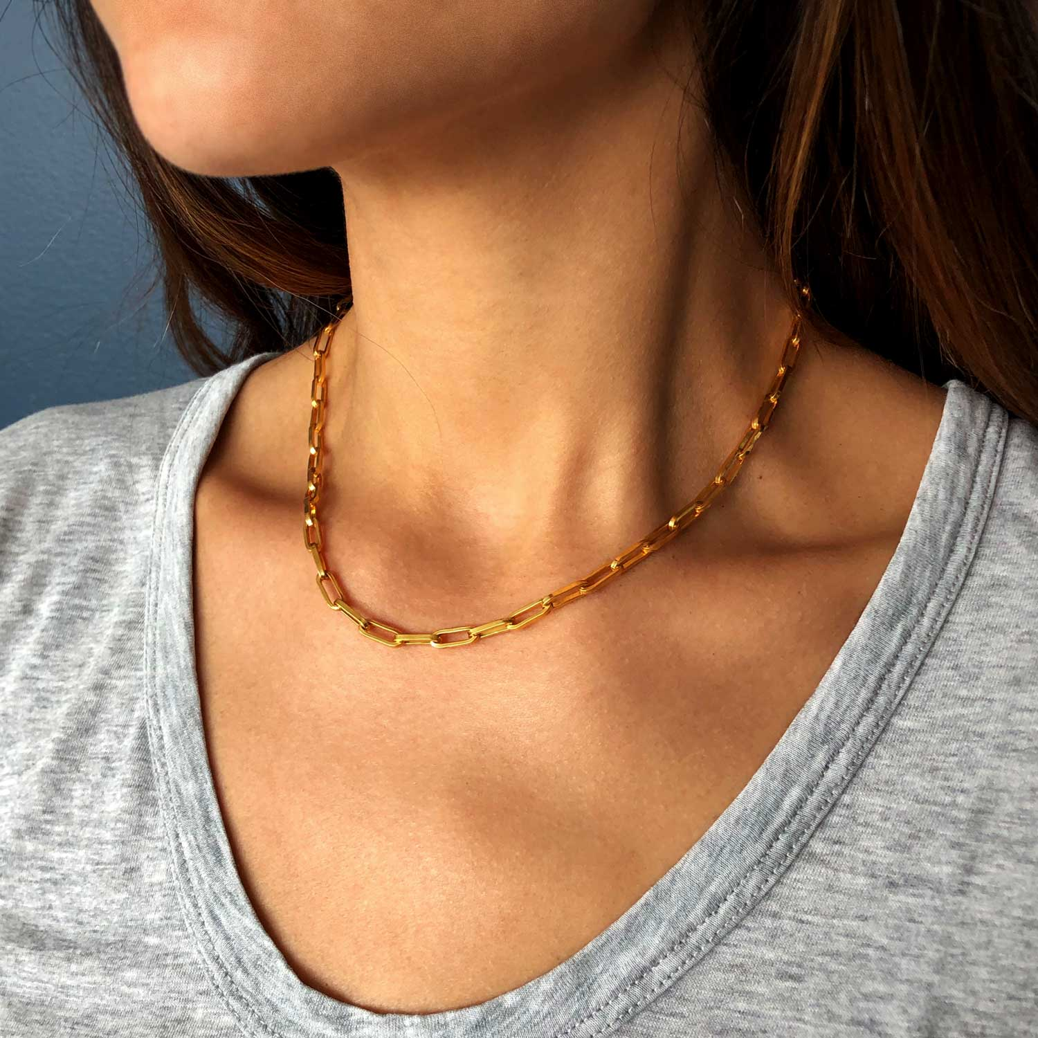Link chain bold heavy sterling silver 925 gold vermeil plated ana buendia jewelry