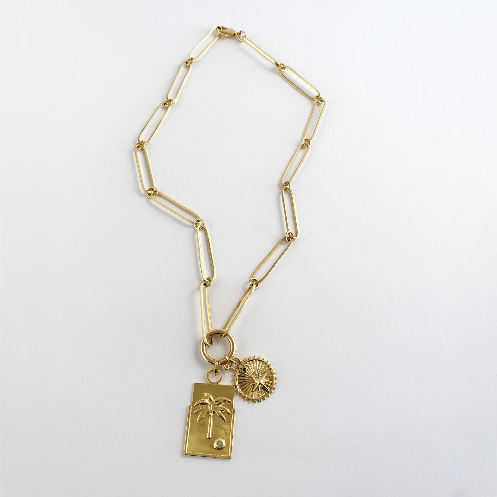 Gold plated  mystical chain elongated link and medallion ana buendia colombian jewelry