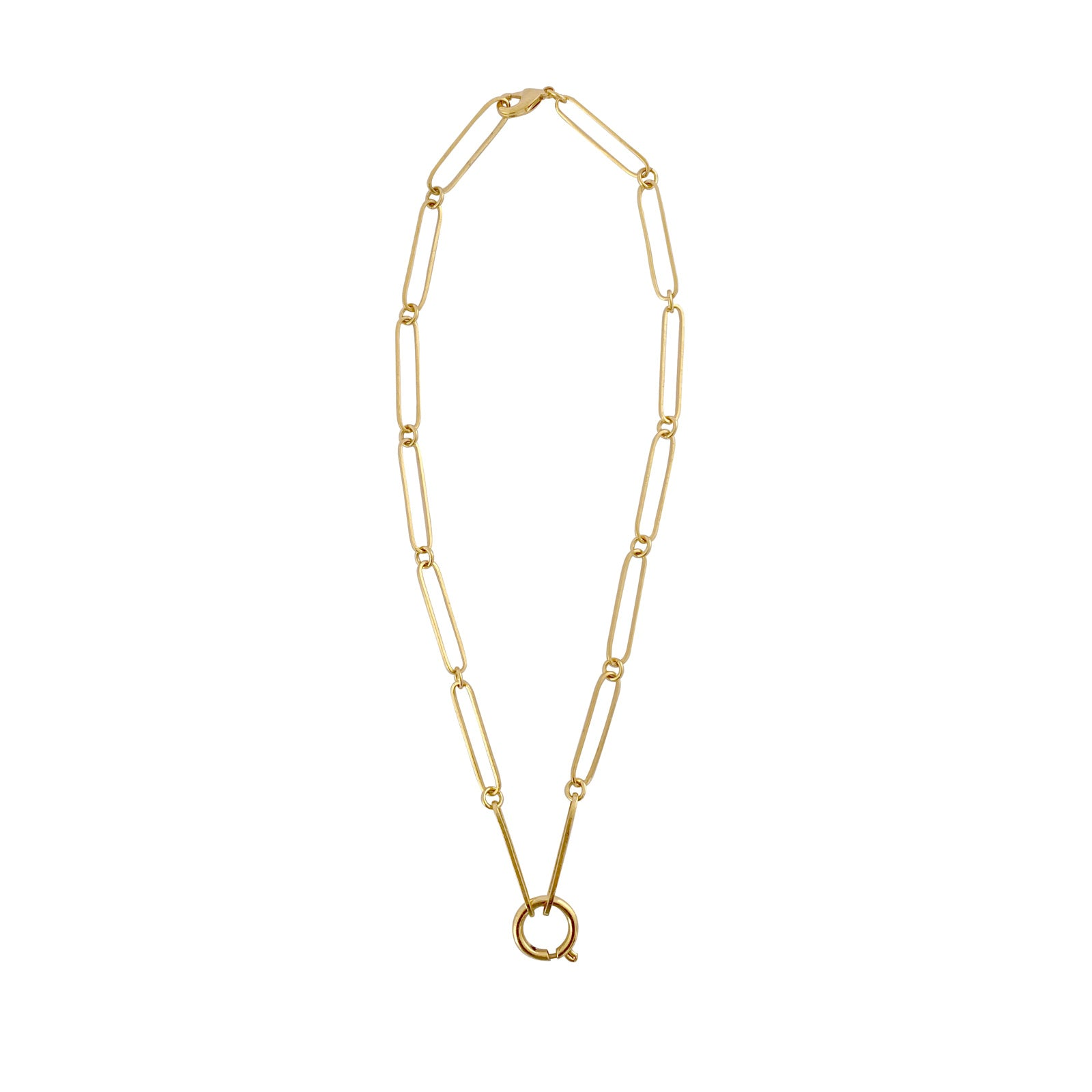 Gold plated  mystical chain elongated link ana buendia colombian jewelry