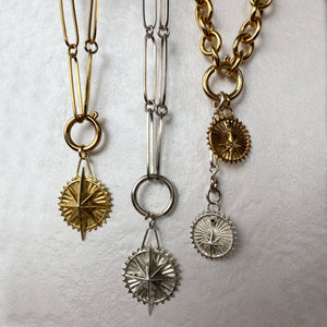 Mystic chain elongated silver 925 links colombian jewelry ana buendia, gold plated chains and charms, from the sierra nevada