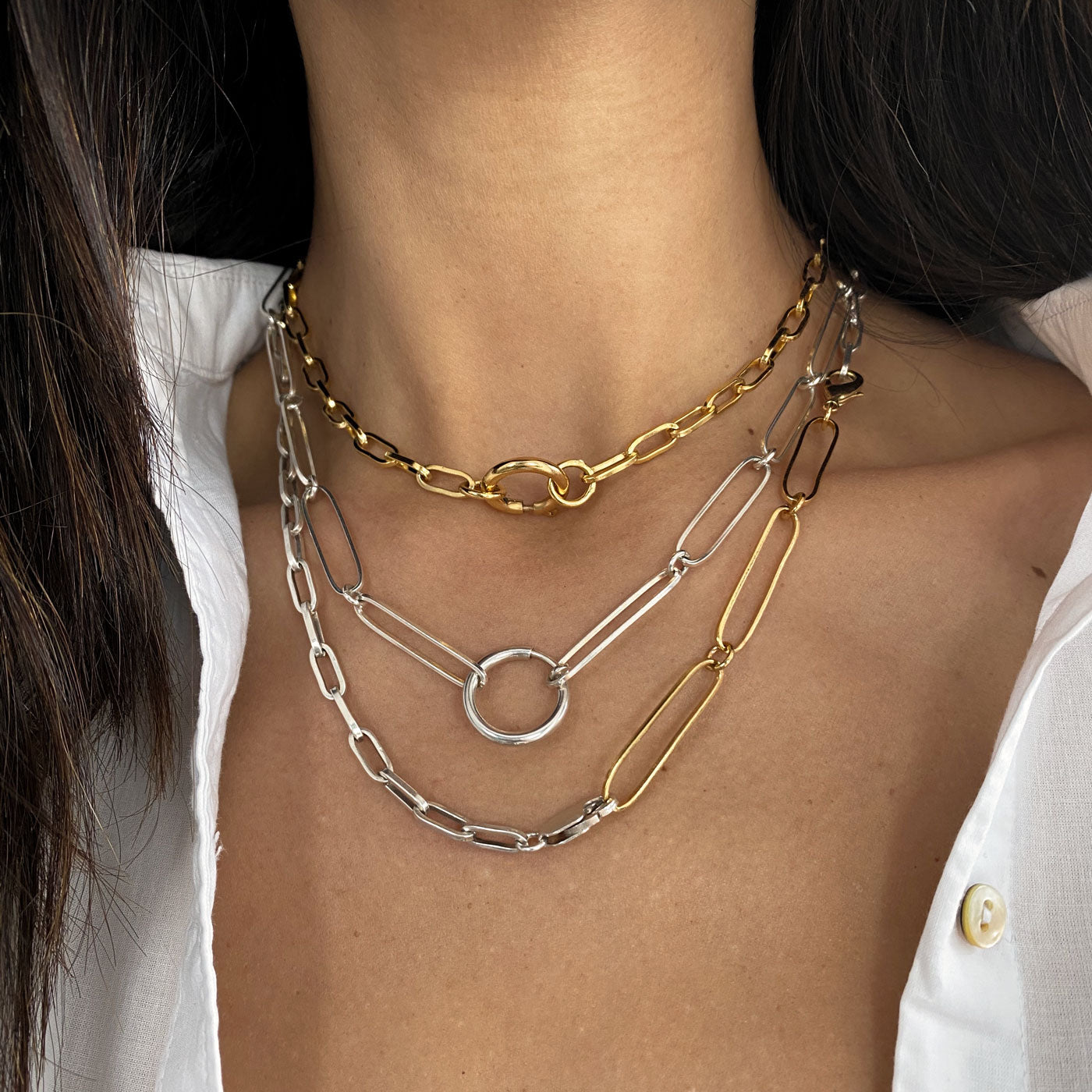 Mystic chain elongated silver 925 links colombian jewelry ana buendia, necklace layering, gold and silver