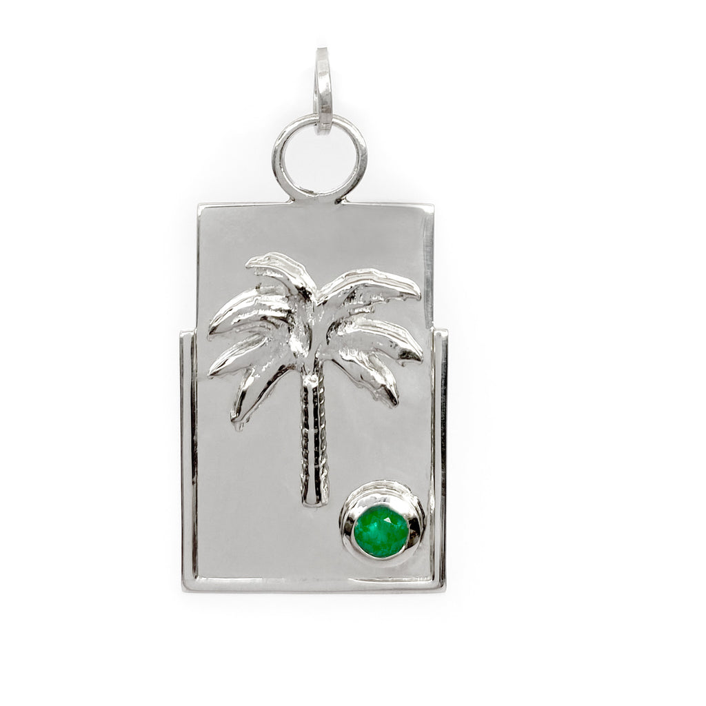 sterling silver medallion with colombian emerald and palm tree fine jewelry