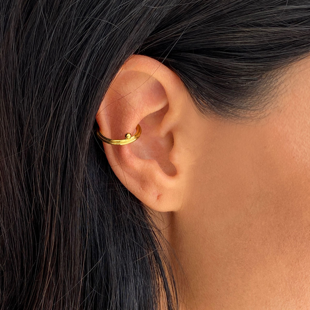 ear cuff silver gold vermeil made by artisans colombian jewelry