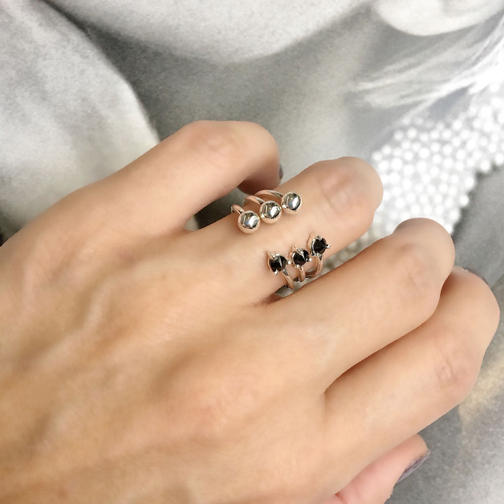 black gemstones silver open rings ana buendia jewelry