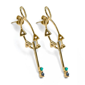 Gold Vermeil geometrical silver earrings with colombian emeralds